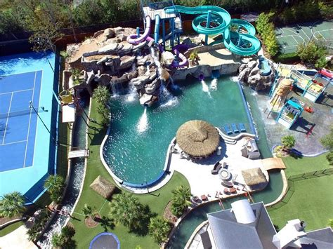 backyard waterpark 32m texas mansion has waterpark in ground troline in backyard curbed
