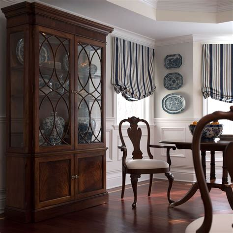 ethan allen china cabinet pinned because of wainscotting under windows shorter with