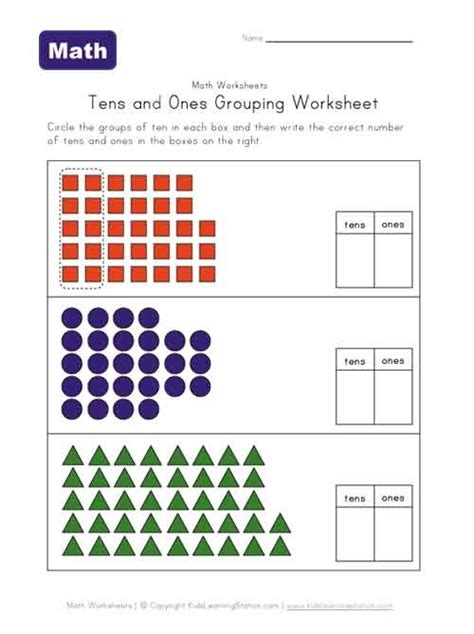 printable tens and units worksheets tens and ones grouping worksheet two of two kids