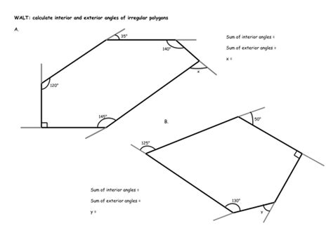 finding interior angles of a polygon worksheet irregular polygons calculate interior and exterior