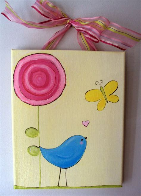 spring painting ideas super easy peasy spring bird flower butterfly canvas art