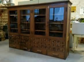 reclaimed vintage antique oak built in science lab cabinet