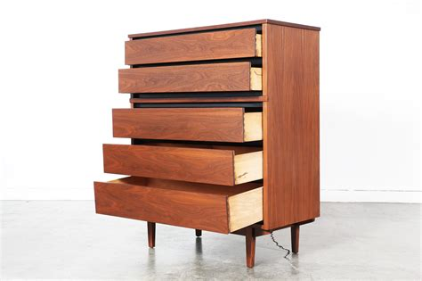 mid century modern walnut chest of drawers by stanley