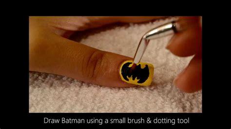 nail art batman tutorial easy batman nail art tutorial youtube