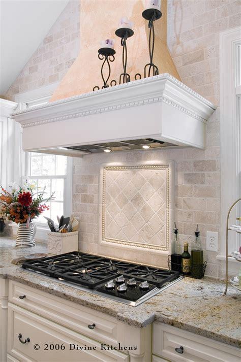 tumbled marble backsplash kitchen traditional