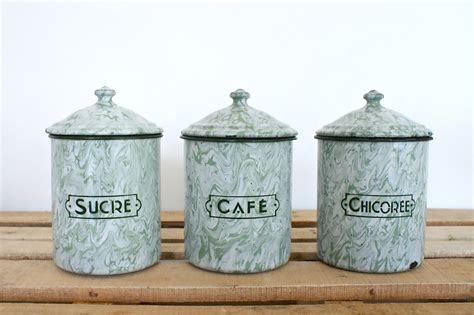 deco enamel canisters sold my finds