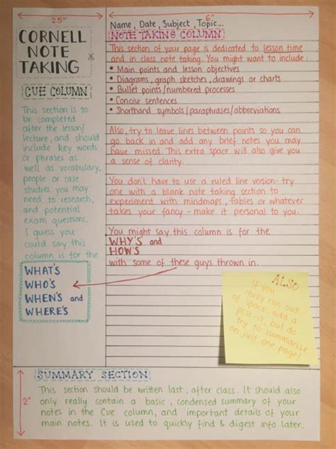 note taking templates for highschool students reviseordie a guide to the cornell note taking