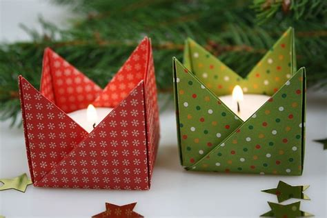 kerzenhalter papier origami teelichthalter