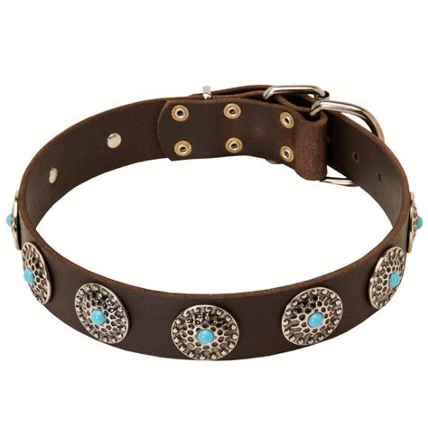 rottweiler collars leather rottweiler collar with nickel plated circles and blue stones rottweiler store