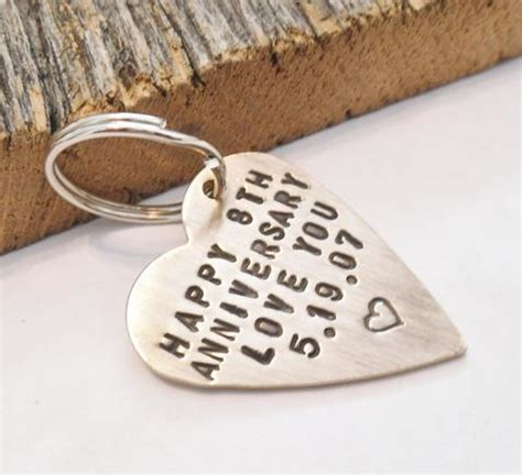 Annivesary Keychain for Wife 8 Year Anniversary for