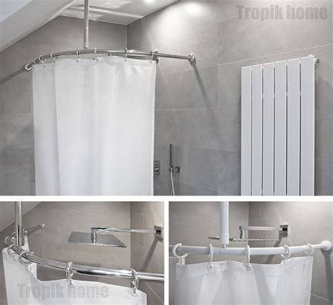 Shower Curtain Rail by Curved Shower Curtain Rail Pole Rod With Ceiling Bracket And Hooks Various Sizes Ebay