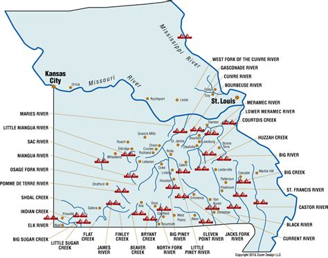 missouri map with rivers statewide river map missouri rivers floats canoes