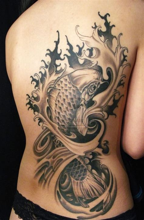 black and grey koi tattoo meaning tatouage carpe koi 11 inkage