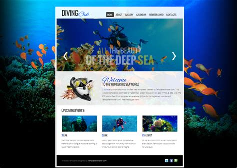 free diving club jquery slider web template template