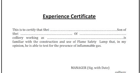 Sample Resume Of Project Engineer by Lamp Handling Certificate Experience Certificate