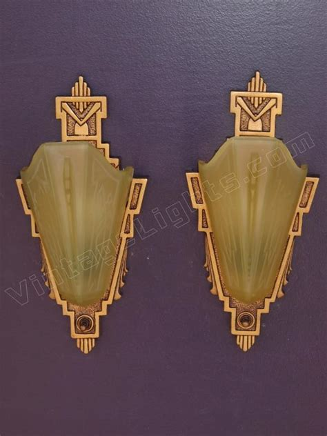 Vintage Wall Sconces Vintage Pair Cast Iron Slip Shade Wall Sconces Signed Mep
