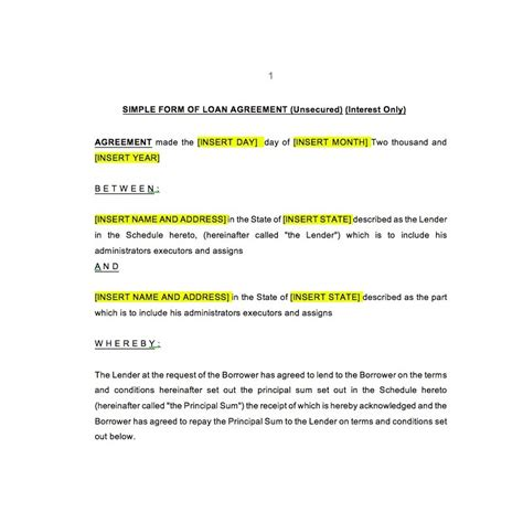 unsecured loan agreement template unsecured loan agreement law4us agreement template