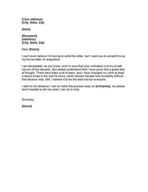 Best Resignation Letter Two Weeks Notice resignation letter formal 2 weeks notice