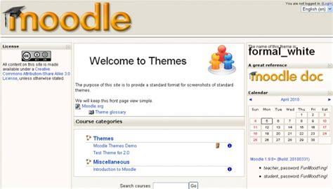 moodle themes formal white front page moodledocs