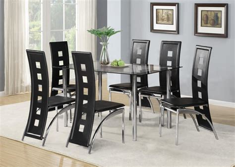 Black Glass Dining Table Set Black Glass Dining Room Table Set And With 4 Or 6 Faux Leather Chrome New