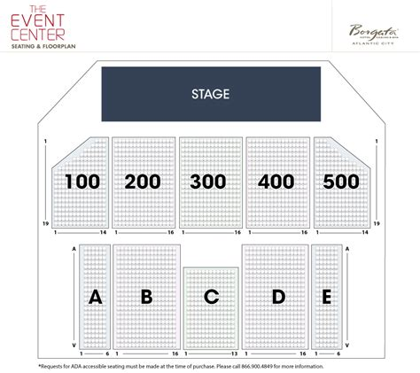 borgata floor plan borgata event center seating chart borgata event center