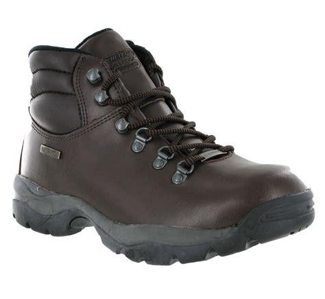 womens hi tec eurotrek waterproof brown leather hiking
