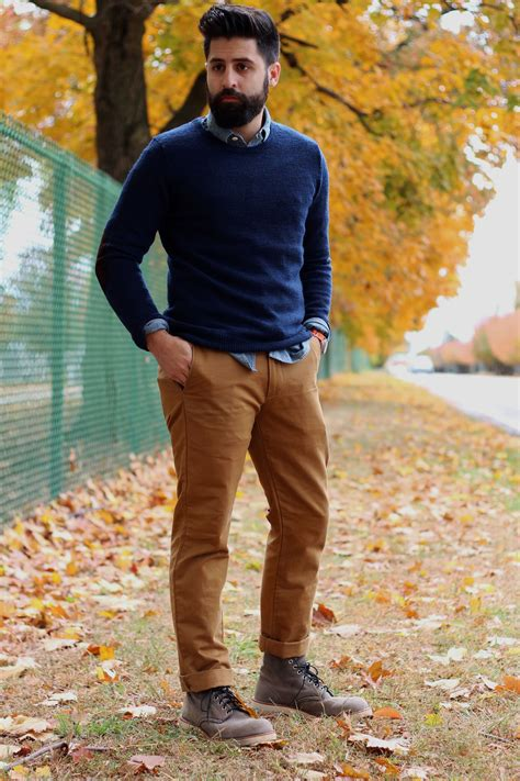 Original Greenlight Casual Chinos Blue s tobacco chinos brown leather boots light blue chambray longsleeve shirt and navy crew