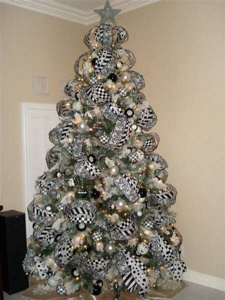 black white and silver christmas tree christmas