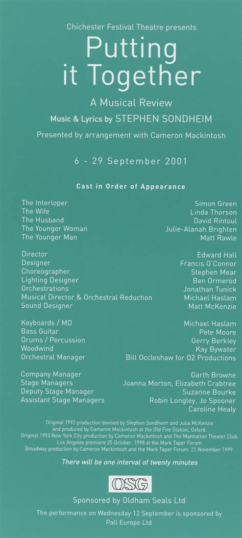 Putting It Together by Cast List Putting It Together 2001 Pass It On