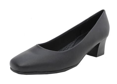 comfortable wide fit ladies shoes womens ladies wide fit leather look comfort black low heel