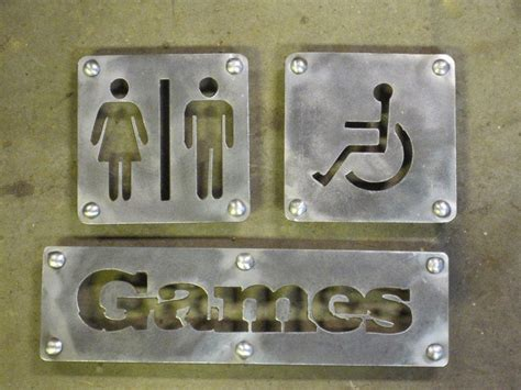 Metal Bathroom Signs Salt Spring Cnc Water Jet Cutting Cnc Router Cutting