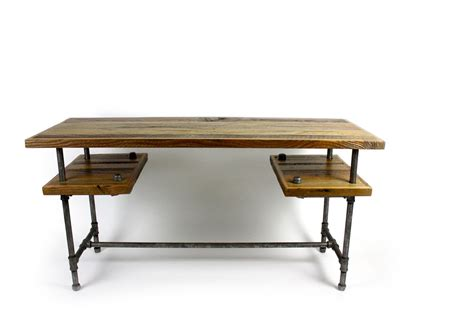 custom galvy industrial desk reclaimed wood table by