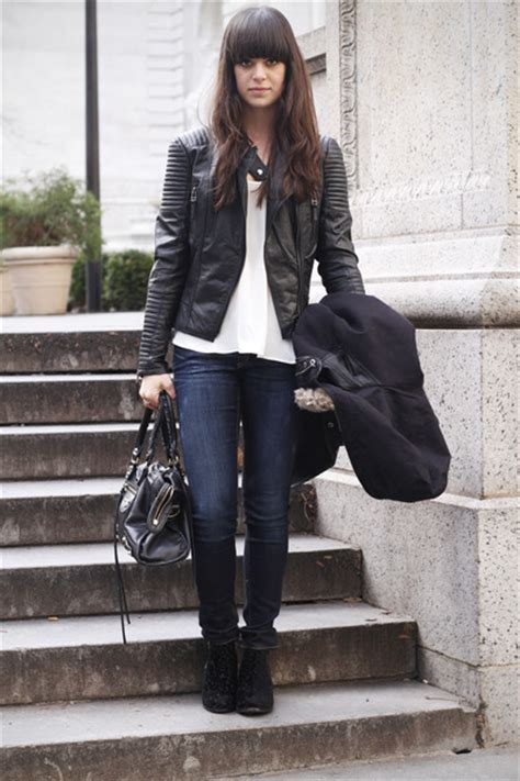black velvet boots navy black leather jacket white