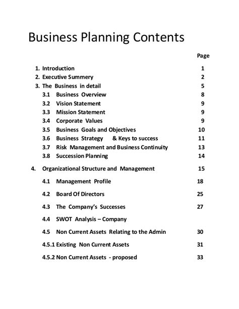 business planning contents main components of a business plan