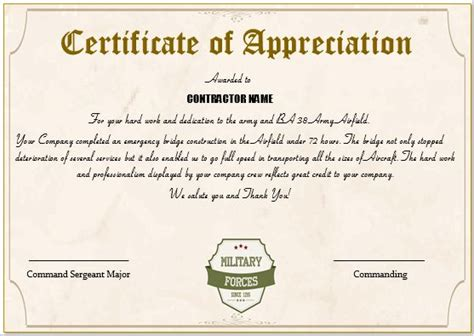 army certificate of appreciation template imts2010 info