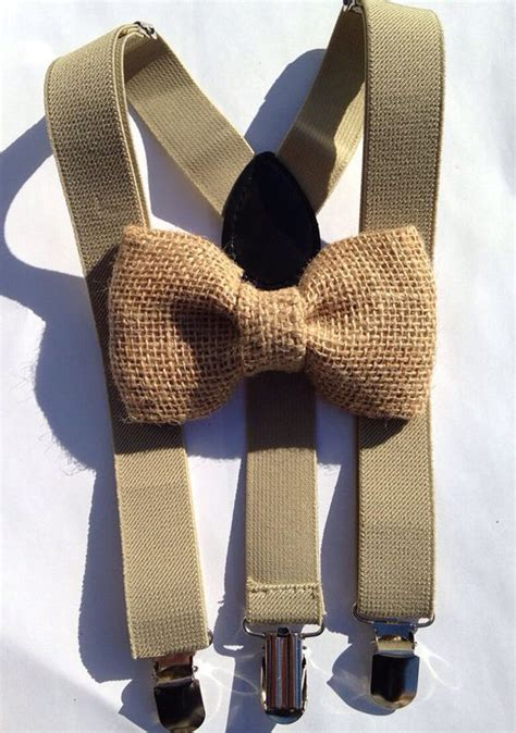 chagne color bow tie burlap bows suspenders and khakis on