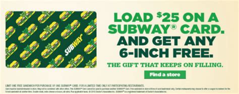 Buy Subway Gift Card Get Free Sub - canadian freebies coupons deals bargains flyers contests canada