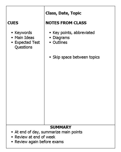 focus note taking template cornell method and capturenotes 187 captureapps