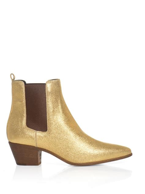 metallic boots laurent metallic leather chelsea boots in gold lyst