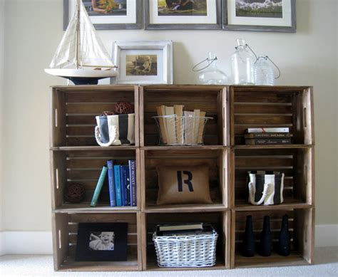 crate bookshelves inexpensive diy idea