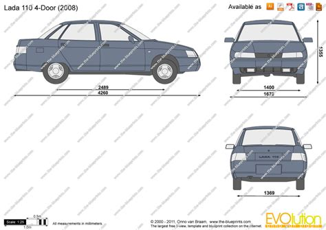 lada dwg lada 110 4 door vector drawing