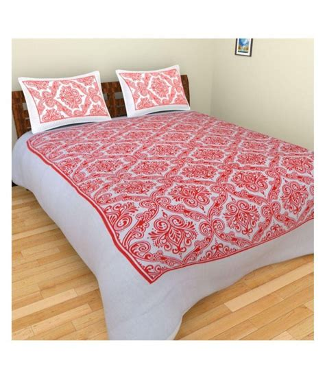 printed bed sheets gauryog red printed cotton double bed sheet buy gauryog