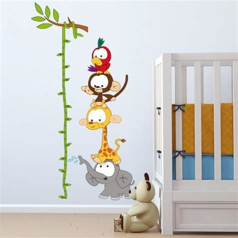 baby wall stickers uk baby animal height chart wall sticker for vinyl impression