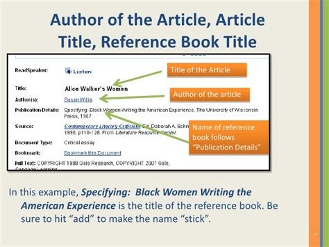 Quote Article Title In Essay by How To Cite A Reference Source From The Gale Literature Resource Cent