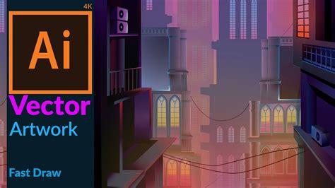 cityscape  dusk vector fantasy artwork  adobe