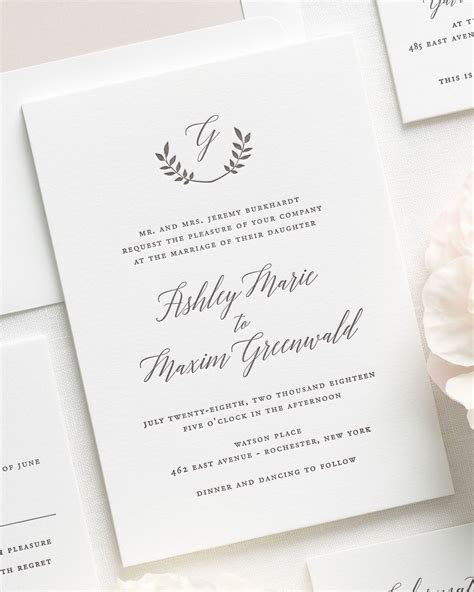 sheer initial wedding invitations wreath monogram letterpress wedding invitations