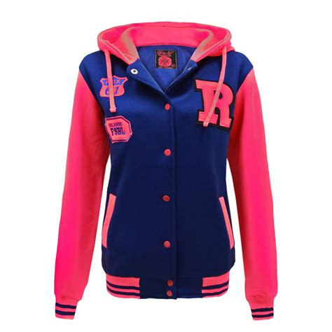 Best Seller Jaket Sweater Baseball Pria Original Hitam Murah U new womens college varsity baseball bomber hoodie fleece top jacket ebay