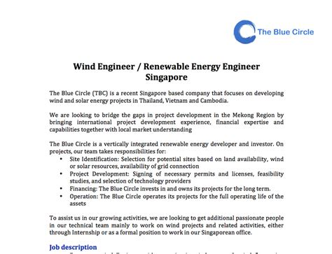 Wind Engineer Cover Letter by Wind Engineer Renewable Energy Engineer Singapore The Blue Circle
