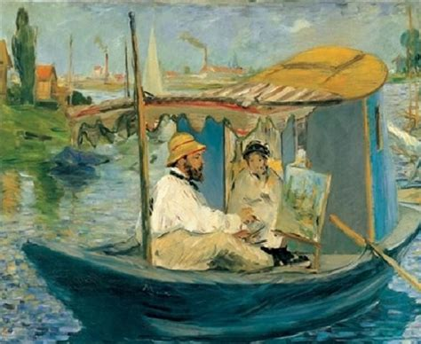 manet monet in his studio boat monet painting on his studio boat art print buy at