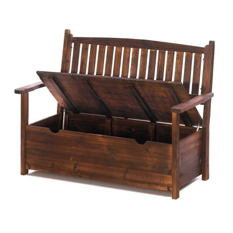 a wooden bench with storage garden grove wooden storage bench patio garden ebay